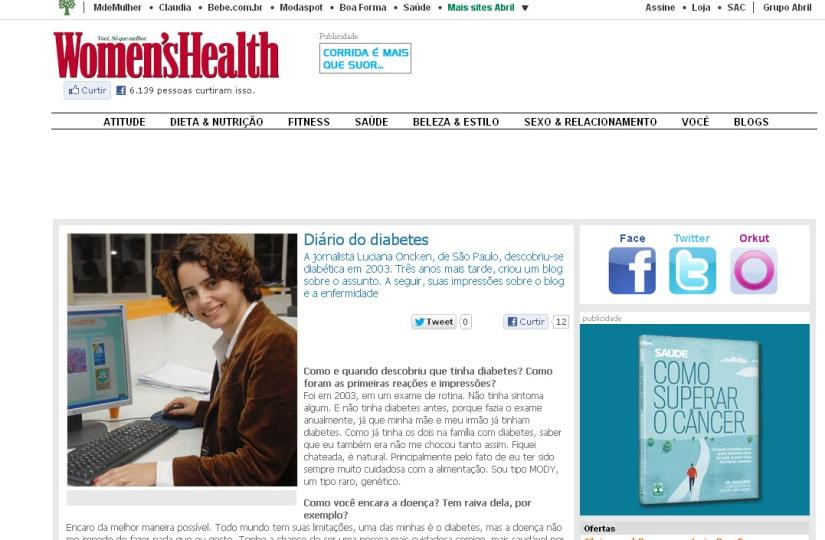 69ac0d176 Entrevista para a revista Women´s Health sobre o blog – Viver com ...