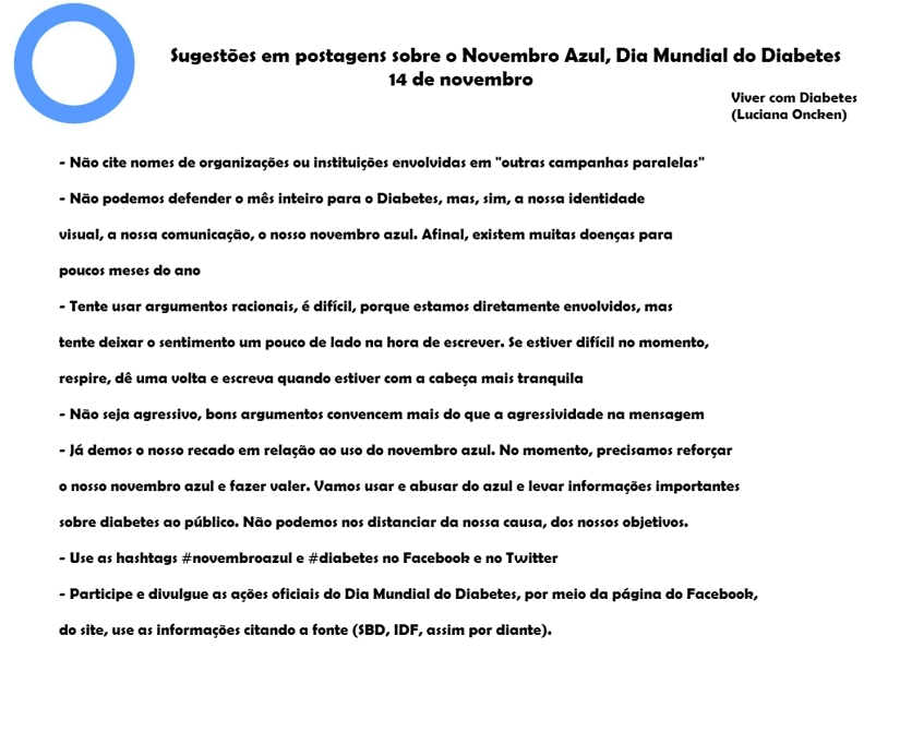 Sugestões para quem quer postar sobre o Dia Mundial do Diabetes, Novembro Azul